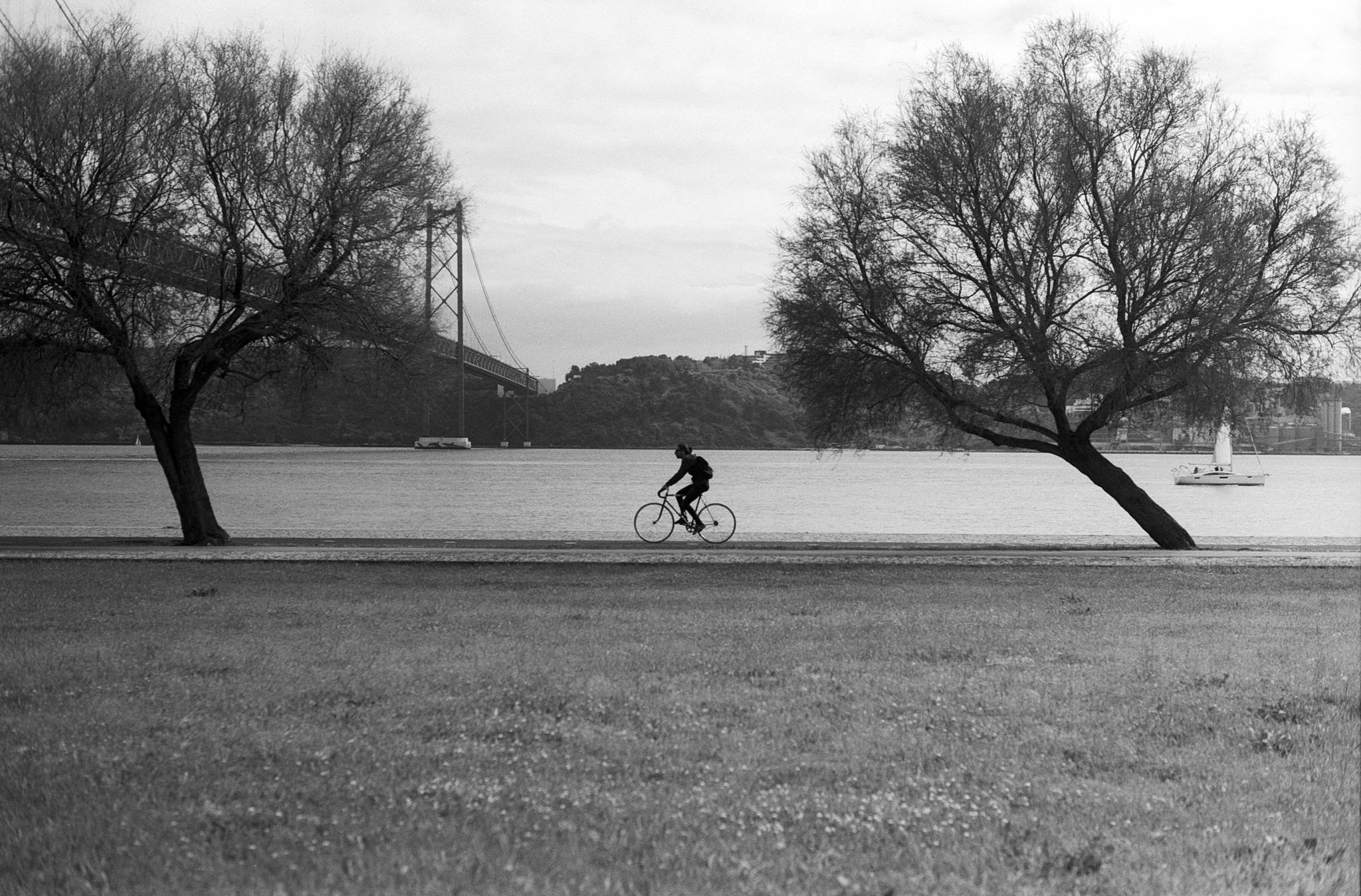 cycling by the river